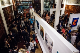 The Sala Brasil seen from above, full of excited guests and wonderful art!